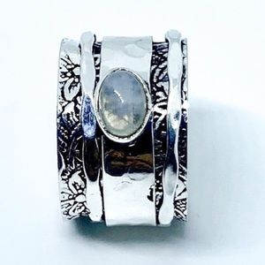 Moonstone Sterling Silver Spinner Ring Cigar Band